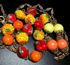 Vintage Antique Art Deco Venetian Lampwork Art Glass Fruit Salad Bead Necklace