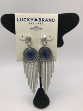 $35 Lucky Brand silver tone reversible Stone & chain fringe earrings LC214