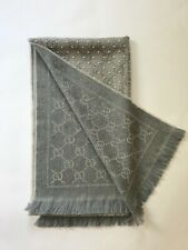 Gucci GG Jacquard gray wool scarf with studs