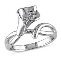 Amour Sterling Silver Diamond Calla Lily Flower Ring