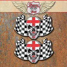 ENGLAND FLAG SKULL LAMINATED STICKERS x2 90x58mm Car Motorbike English decals