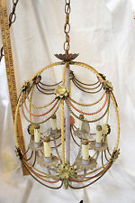 Vintage Cold Painted Cage Rococco Style Iron Chandelier