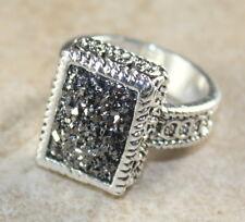 SILVER Vintage Style Silver Gray Rainbow Titanium Druzy 10x14mm Ring Size 6.75