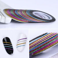 13 Color Rolls Matte Glitter Striping Tape Line Nail Art Sticker UV Gel Tips DIY