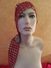 Downton Abbey Gatsby 20's Flapper Red Illusion Jewel Crystal Bridal Headpiece