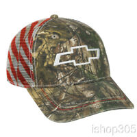 Chevrolet Realtree Mesh Back Patriotic Hat Baseball Cap US Flag Hat Trucker Hat
