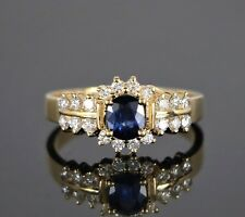 $2,295 4A 14k Yellow Gold Blue Cushion Sapphire Round Diamond Cocktail Ring Band