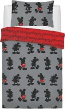 Disney Mickey Mouse Reversible Grey Black Red Single Duvet Cover Bedding Set