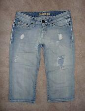 "BKE Buckle Designer distressed holey thick stitch ""Sabrina"" capris jeans Size 24"
