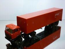 LION CAR 36+69 DAF 2100 TRUCK + TRAILER - PTT POST - RED 1:50 - VERY GOOD
