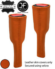 ORANGE REAL LEATHER 2X SEAT BELT STALK LONG COVERS FITS CORVETTE C5 1997-2004