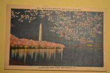 ILLUMINATED NIGHT SCENE, WASHINGTON MONUMENT D.C. *FREE SHIPPING* POSTCARD