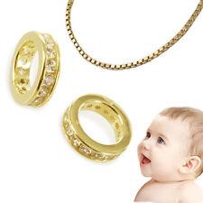 Premium Baby Memoire Zirkonia Taufring Echt Gold 333 (8 KT) mit Venez. AMD Kette