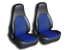 MAZDA MIATA 1990-2000 BLACK/BLUE IGGEE S.LEATHER CUSTOM FIT FRONT SEAT COVER