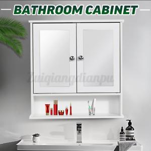White Wall Bathroom Cabinet Storage Cupboard Double Door with Mirror Shelves UK