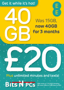 EE PAY AS YOU GO SIM CARD - £20 30 DAY PACK - 40GB DATA, UNLIMITED MINS & TEXTS