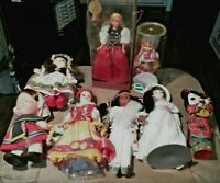 8 Sm. Vintage Plastic of Different Cultures & Ethnicities & Sizes Dolls