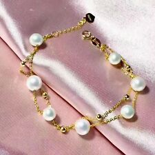 """New 18k Yellow Gold Double Layer O Chain & 6-7mmW Natural Pearl Bracelet 7.28""""L"""