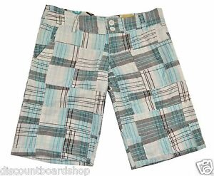 Billabong CONNOLLY White Brown Blue Plaid 100% Cotton Junior's Bermuda Shorts