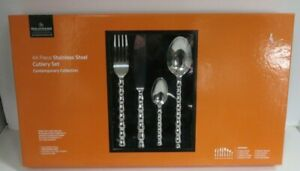 GRUNWERG CONTEMPORARY COLLECTION STAINLESS STEEL 44 PIECE CUTLERY SET