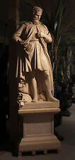 Incredible Italian Carved Marble Statue Of Michelangelo On Base 8 Feet Tall!