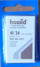 HAWID STAMP MOUNTS BLACK Pack of 50 Individual 41mm x 24mm - Ref. No. 6017