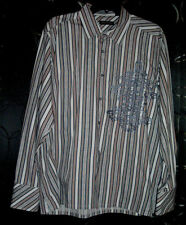 KENNETH COLE ~ Grey Brown & White ~ Striped Dress Shirt ~ SIZE LARGE Long Sleeve