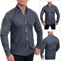 Mens Casual Shirt Italian Design Formal Classic Slim Dark Grey UK Size Cotton