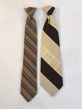 Vintage Danbury & Tergal Polyester & Acrylic Mens Clip On Neck Ties Lot of 2