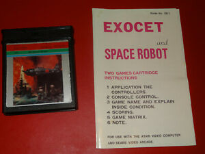 Atari 2600 Video Game Program 2 in 1 Space Robot and Exocet