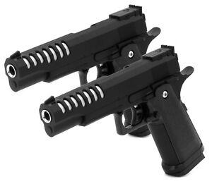 2x Softair Gun Airsoft Pistole + Munition | V305 Black Profi Vollmetall | 22cm