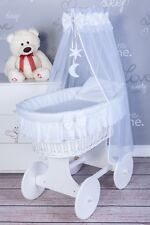Sweet Dreams Wicker Moses Basket With Bedding Set and Stand- 7 Colours White