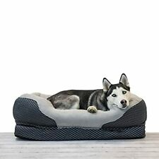 New listing BarksBar Large Gray Orthopedic Dog Bed - 40 x 30 inches - Snuggly Sleeper with S