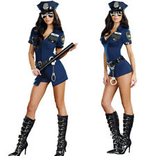 Ladies Police Cop Halloween Costume Fancy Dress Sexy Outfit Woman Officer