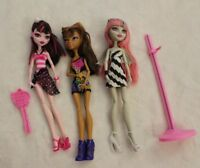 Monster High Barbie Dolls Lot of Three 3 Dolls + Stand & Brush Clothes Shoes