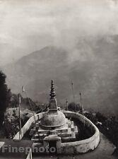 1928 Original INDIA Darjeeling Stupa Buddhism Landscape Photo Art By HURLIMANN