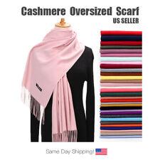 Women Men Plain Cashmere Scotland Oversized Soft Pashmina Scarf Shawl Wrap Solid