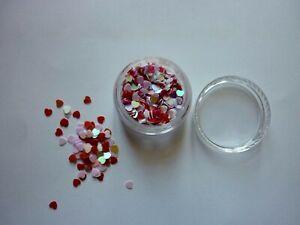 Valentines Nail Art RED WHITE PURPLE Heart Shape Spangles Glitter 3D Decoration