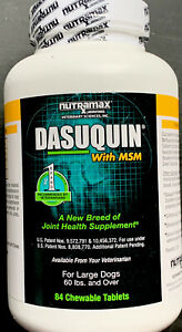🐶 LOT (4) NEW Nutramax Dasuquin w/ MSM LG Dogs 84 Chewable Tablets EXP 2023+ 🐶