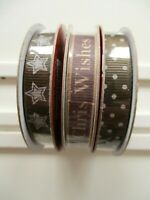 3 Reels Dovecraft Grosgrain Ribbons - Christmas Wishes , Stars , Dots on Brown