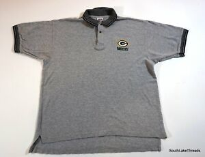 Vintage 90s Green Bay Packers Polo Shirt Men's Large Textured Grey True Fan