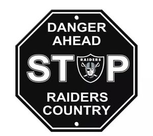 """NFL Oakland Raiders. Danger Ahead Stop Sign for Home Room and Bar Decor 12"""" x 12"""