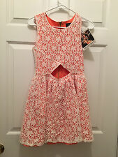 NWT Minkpink Women's Sleeveless Coral White Lace Cutout Festival Dress Small