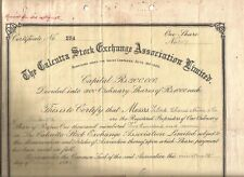 1923-35 India share: Calcutta Stock Exchange Association Ltd:Goat Skin parchment