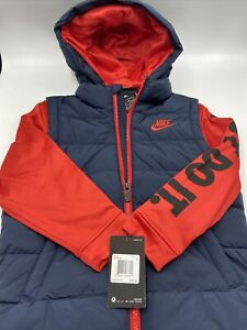 Nike Boy's Therma Padded Mock Vest Jacket Blue and Red 86F300 Size 6 New w/ Tag