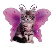 Ragamuffin Gray White Kitten Cat w/ Purple Wings Decal-Wings By Keith Kimberlin