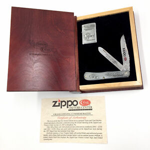 1997 Case Trapper SS Knife Zippo Visitor Center Lighter w/ Cherry Book Display