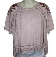 NEW NWOT Knox Rose Women's Pink Boho Shirt Peasant Blouse Embroidered Top Sz XL