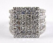 Princess & Round Cut Diamond Cluster Lady's Cocktail Ring 14k White Gold 5.63Ct