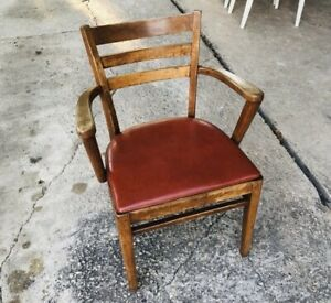 vintage wooden courtroom chair Bankers Chair With Armrests Rare